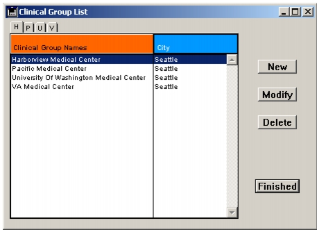 Viewing Clinical Group records
