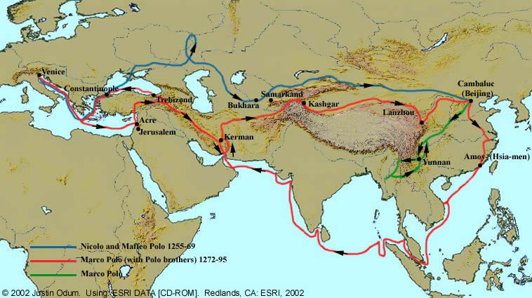 photograph about Silk Road Map Printable called Marco Polos Course