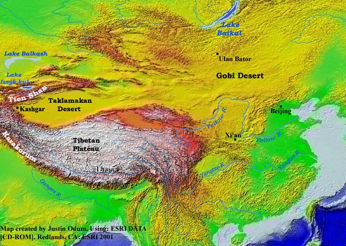 Topographic Map Asia.Topography Of Eastern Asia