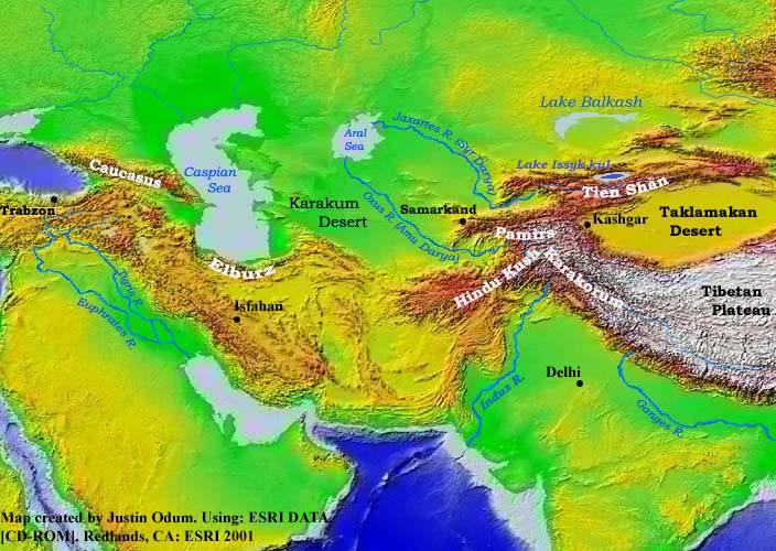 Topographic Map Asia.Topography Of Western Asia
