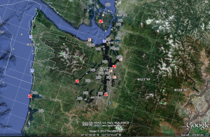 Screen capture of Google Earth with the Ocean Layer added, centered around the Pacific Northwest
