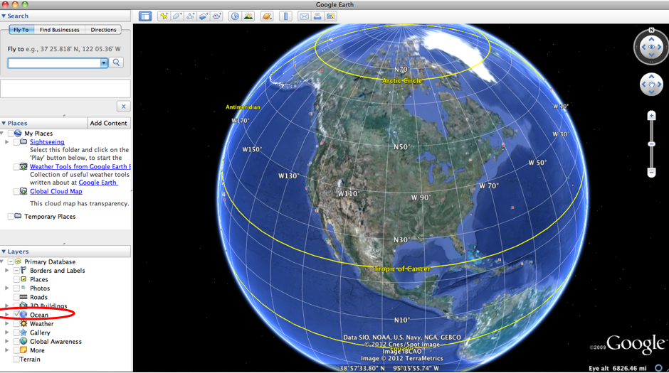 Screen capture of Google Earth with the application of the Ocean Layer highlighted