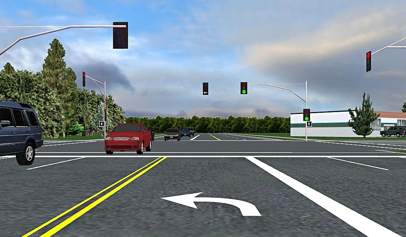 Graphics of a left turn lane at an intersection from the driver's viewpoint
