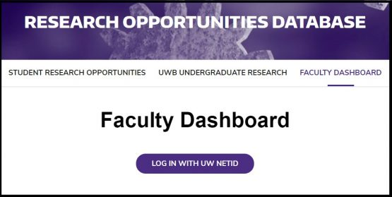 Screen capture of faculty dashboard