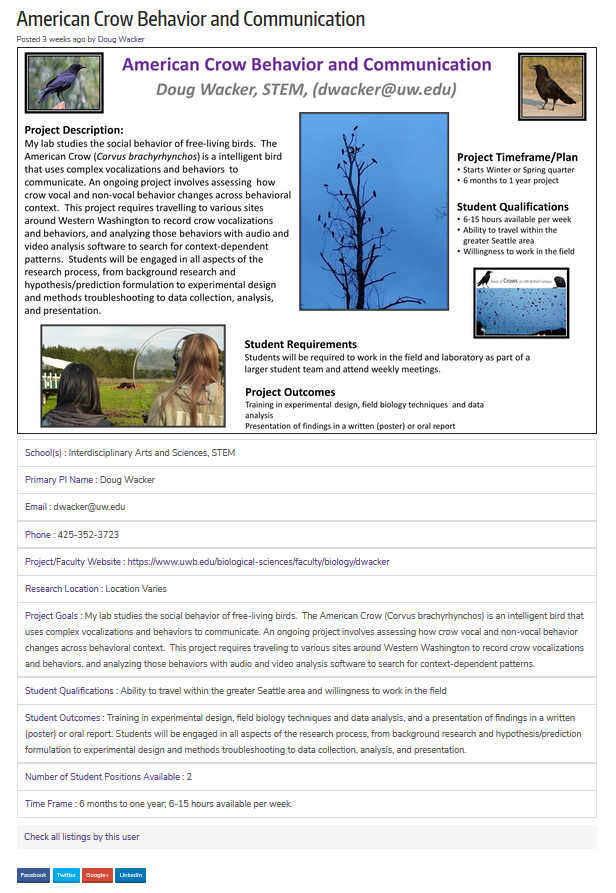 Screen capture of Listing Page with research poster and fields
