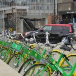Lime bikes parked by UW Stadium