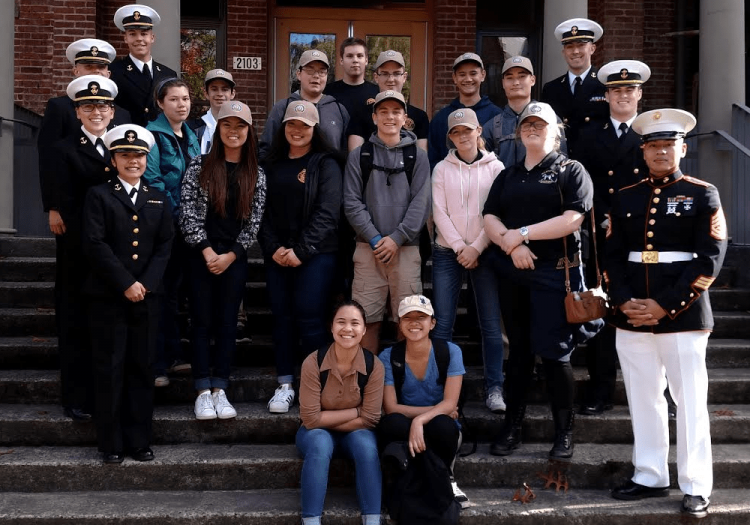 JROTC Tour on the front steps of Clark Hall