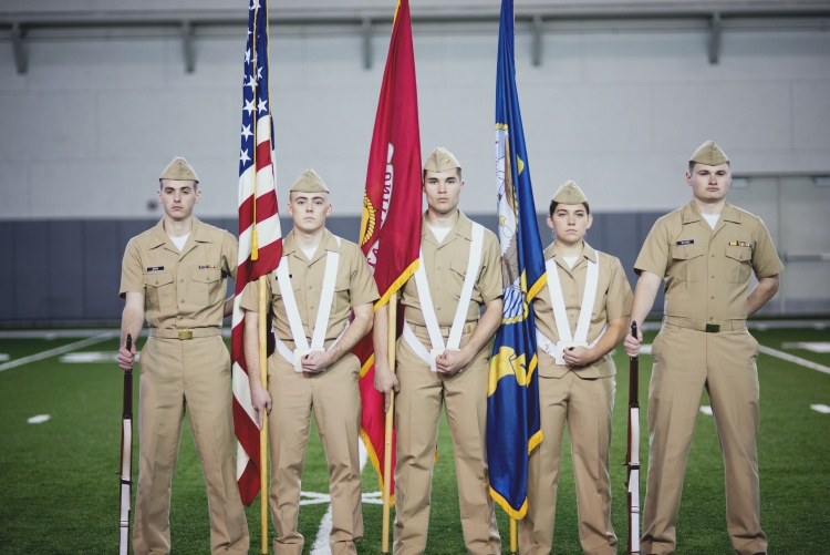 North West Navy 2017 Color Guard Team at parade rest